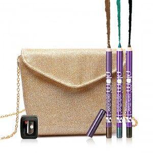 Buy Plum NaturStudio All-Day-Wear Kohl Kajal Trio Pack + Sharpener + Free Gold Bling Sling Bag - Nykaa