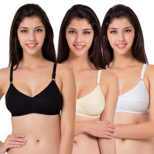 Buy Souminie Flexi Fit Cotton Multicolor Non Padded Bra - Pack of 3 - Nykaa