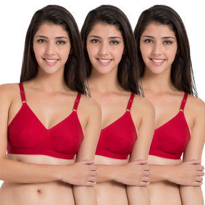Buy Souminie Cotton Non Stretchable Red Bra - Pack of 3 - Nykaa