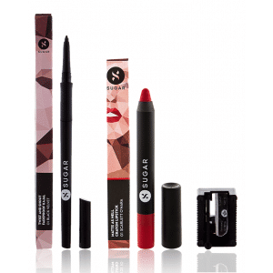 Buy SUGAR Twist And Shout Fadeproof Kajal + Matte As Hell Crayon Lipstick - 01 Scarlett O'Hara (Red) Value Set - Nykaa
