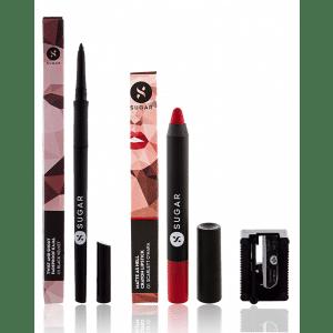 Buy SUGAR Twist And Shout Fadeproof Kajal + Matte As Hell Crayon Lipstick - 01 Scarlett O'Hara (Red) Value Set - Nykaa