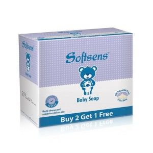 Buy Softsens Baby Milk Soap (With Natural Milk Cream & Shea Butter) (Buy 2 Get 1 Free) - Nykaa