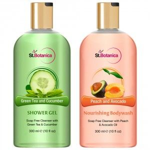 Buy St.Botanica Green Tea And Cucumber Shower Gel + Peach and Avocado Nourishing Luxury Body Wash - Nykaa