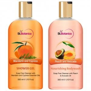 Buy St.Botanica Mandarin & Cypress Shower Gel + Peach and Avocado Nourishing Body Wash - Nykaa
