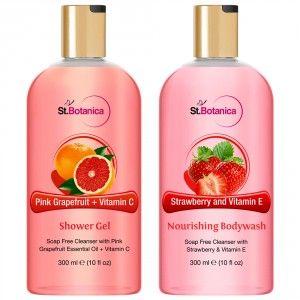 Buy St.Botanica Pink Grapefruit & Vitamin C Shower Gel + Strawberry And Vitamin E Nourishing Luxury Body Wash - Nykaa