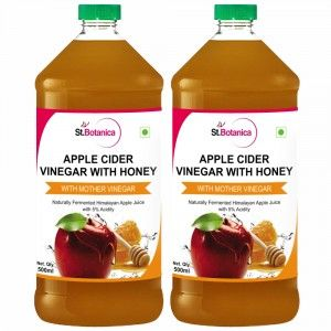 Buy St.Botanica Apple Cider Vinegar With Honey - Natural With Goodness of Mother of Vinegar - 500ml x 2 - Nykaa