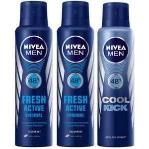 Buy Nivea Men Buy 2 Fresh Active Deos & Get 1 Cool Kick Deo Free - Nykaa