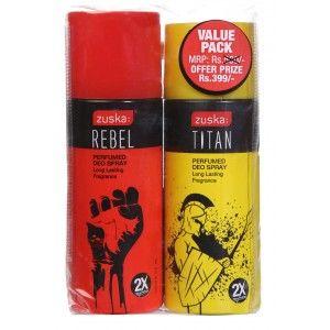 Buy Zuska Perfumed Deo Spray Value Pack - Rebel and Titan(Rs.101 OFF) - Nykaa