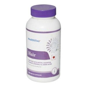 Buy HealthViva Hair With Biotin 90 Capsules Unflavoured  - Nykaa