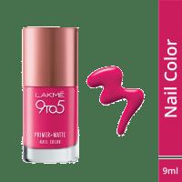 Lakme 9 to 5 Primer + Matte Nail Color - Magenta