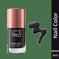 Lakme 9 to 5 Primer + Matte Nail Color - Charcoal