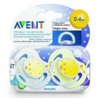 Philips Avent 2 Orthodontic Silicone Night Time Soothers 0-6 M