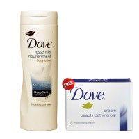 Dove Essential Nourishment Body Lotion 250ml + Free Dove Cream Beauty Bathing Bar 75 gm