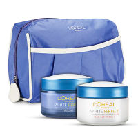L'Oreal Paris White Perfect Day + Night Cream With Free Travel Pouch