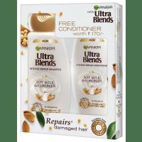 Garnier Ultra Blends Soy Milk & Almonds Shampoo 340ml + Free Conditioner Worth Rs 170/-