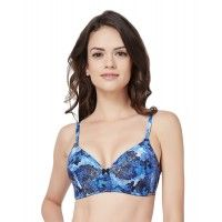 Amante Blue Printed Padded Non-Wired Bra