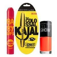 Maybelline New York Baby Lips Candy Wow - Cherry + Colossal Kajal + Free Nail Lacquer - Orange Fix