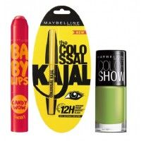 Maybelline New York Baby Lips Candy Wow - Cherry + Colossal Kajal + Free Nail Lacquer - Mint Mojito