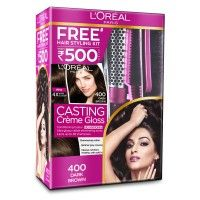 L'Oreal Paris Casting Creme Gloss Hair Color - 400 Dark Brown + Styling Kit