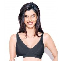 Enamor Full Coverage Non-Padded Wirefree Adjustable Strap Bra - Black