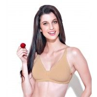Enamor Medium Coverage Non-Padded Wirefree Adjustable Strap Bra - Nude