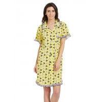 Blush Yellow Multicolor Soft Button Down Sleepshirt