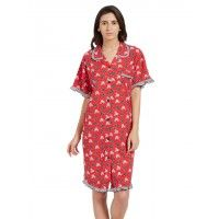 Blush Red Multicolor Soft Button Down Sleepshirt