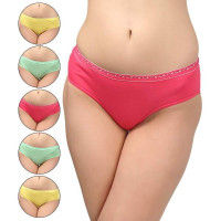 Bodycare Hipster Style Cotton Briefs In Assorted Colour With Broad Elastic Band (Pack Of 6)