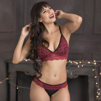 Clovia Lace Non-Padded Non-Wired Caged Back Bralette & Bikini Panty - Maroon