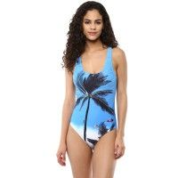 Blush Multicolor Scoop Neck Swimsuit - Blue, Print