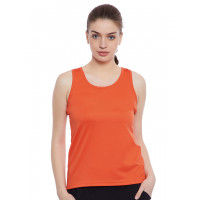 Clovia Cotton Tank Top With Racerback - Orange