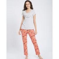 Mystere Paris Stitch Print Tshirt PJ Set - Multi-Color
