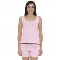 Clovia Cotton Striped Sleeveless Top & Shorts - Multi-Color