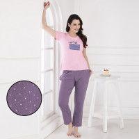 Clovia Cotton Rich Pastry Print Top & Polka Print Pyjama - Multi-Color