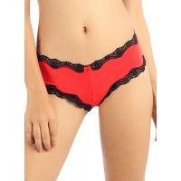 Candyskin Cheeky Panty With Lace Trim (Red-Black)