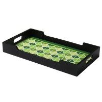 Danali - Tray MDF - Triangle Green Design With Black Rim - Size - Medium