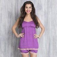 Clovia Satin Spaghetti Top & Shorts Set - Purple