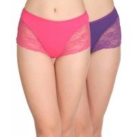 Clovia Set Of 2 Cotton High Waist Hipsters With Lace Sides - Pink