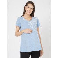 Mystere Paris Maternity Floral T-Shirt - Blue