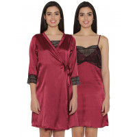 Clovia Satin Short Nighty & Robe - Maroon