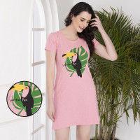 Clovia Cotton Rich Printed Short Nighty - Pink