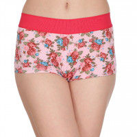 Clovia Floral Print High Waist Boy Shorts - Multi-Color