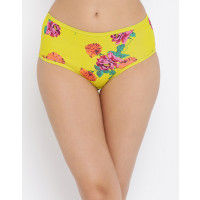 Clovia Cotton High Waist Floral Print Hipster Panty - Yellow