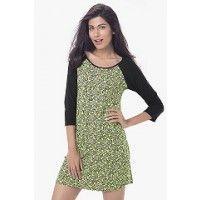 PrettySecrets Cotton Raglan Sleeved Sleepshirt - Green, Multicolour/Print