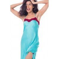 PrettySecrets Lacy Long Nightdress - Blue