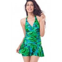 PrettySecrets Ruched Skirted Swimsuit - Green, Multicolour/Print