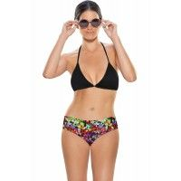 Zivame Aqua Halter Bikini With Floral Print Low Rise Bottom (Large)