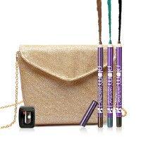 Plum NaturStudio All-Day-Wear Kohl Kajal Trio Pack + Sharpener + Free Gold Bling Sling Bag