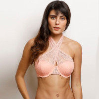 Zivame Moroccan Lace Halter Neck Wired Bralette - Coral