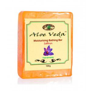 Buy Aloe Veda  Moisturising Bathing Bar – Saffron - Nykaa